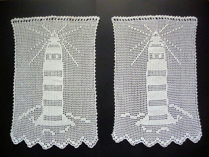 2 Häkelgardinen, Bistrogardinen, 35 x 55 cm von Dies&Das von der Nordsee-Krabbe, in liebevoller Handarbeit hergestellt. auf DaWanda.com