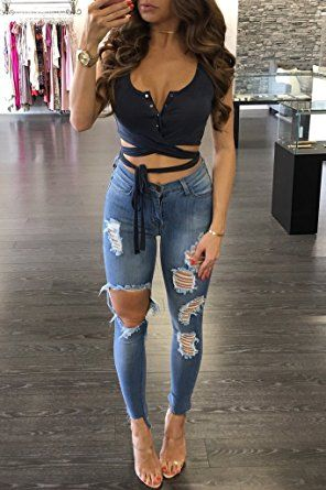 WorkTd Womens Criss Cross Bandage Wrap Crop Top Sleeveless Tie Up Shirts at Amazon Women's Clothing store: