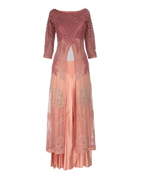 Vintage Pink and Ombre Peach Long Jacket with Palazzo Pants - Expressionist by Jaspreet - Designers