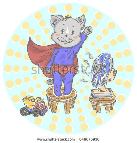 Illustration with cute little cat superhero. Can be used for baby t-shirt print, fashion print design, kids wear, baby shower celebration greeting and invitation card.