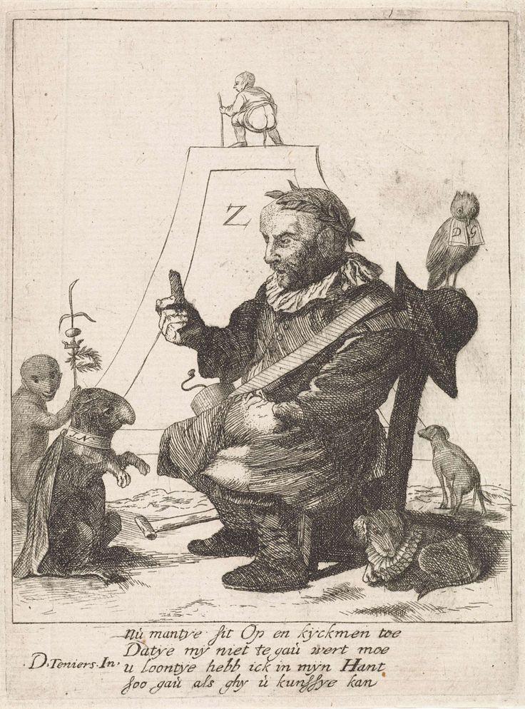 Quirin Boel | Man traint een hond, Quirin Boel, Anonymous, 1630 - 1718 | Een man, op een stoel met een lauwerkrans op het hoofd, houdt een koekje op voor het hondje dat een kunstje doet. Op zijn halsband: J.N. De man mist zijn linkerhand. Aan zijn stomp hangt de ketting van het rustende hondje naast hem. Links een aap met een staf en op de stoel een uil met kraag. Op de achtergrond een verhoging met daarop een man, die zijn behoefte doet. Onderaan in de marge een vierregelig vers in het…