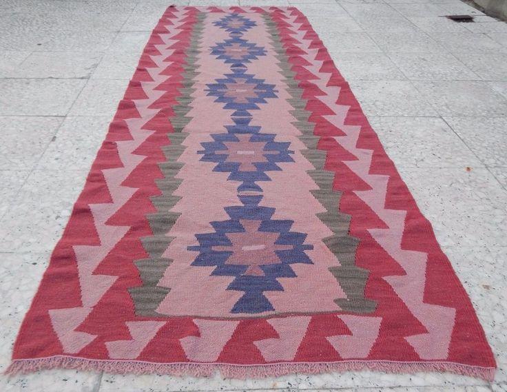 Pink Kitchen Runner, Vintage Handwoven Kilim Rug Flatweave Runner 2.6x7.4 Ft. #Turkish
