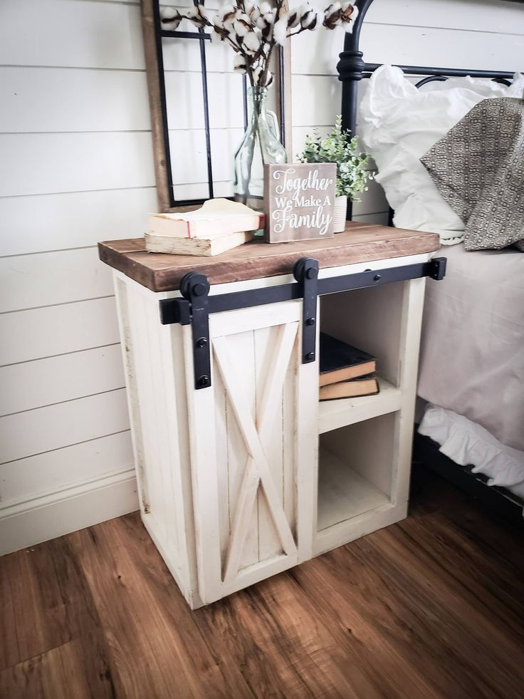 Farmhouse night stand, wooden nightstand, nightstand, rustic nightstand, nightstand with barn door, savvy farmhouse design
