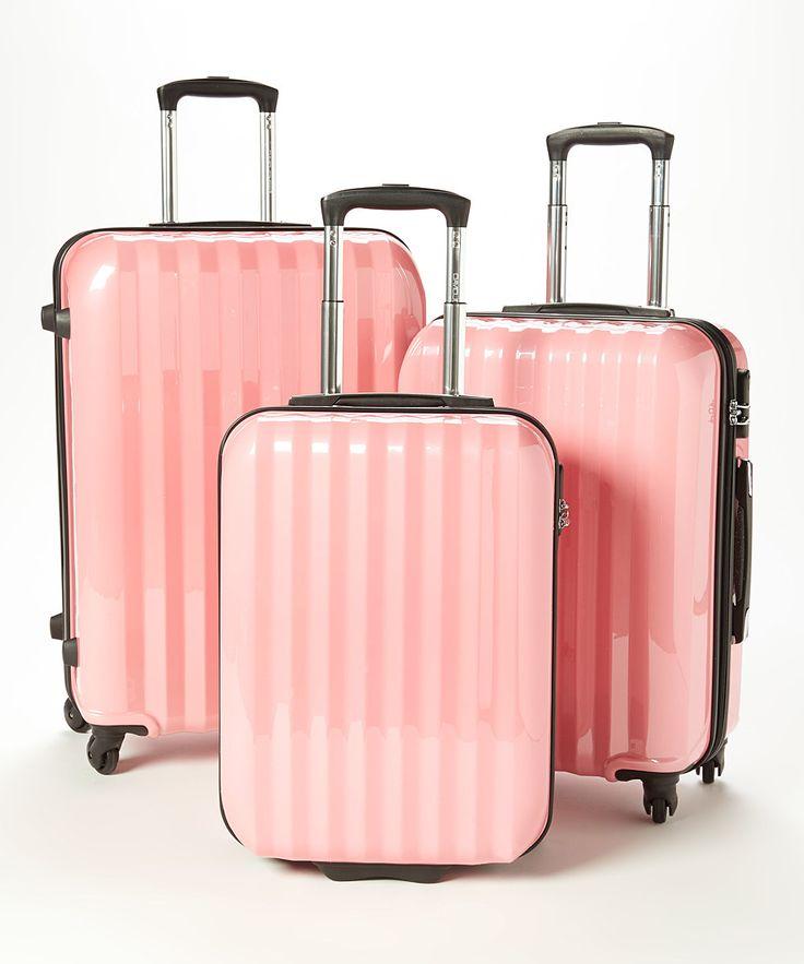 Pink Wheeled Three-Piece Luggage Set