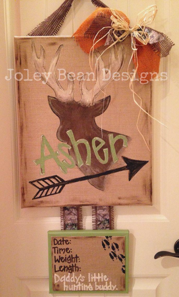 Baby boy door hanger, hospital door hanger, nursery, hunting, Joley Bean Designs