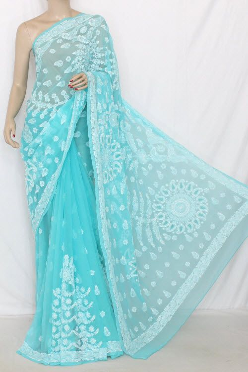 Sea Green Hand Embroidered Lucknowi Chikankari Saree (With Blouse - Georgette) 14322