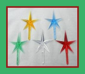 5 Ceramic Christmas Tree Stars Your Color Choice There are 5 bright colors. The stem is 1/8″  and the width of the star is  2-1/2″. http://theceramicchefknives.com/ceramic-christmas-trees/
