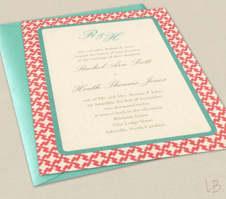 Love the colors! Aqua and Coral Wedding Invitation Sample Set by LBcreativepaper