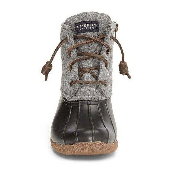 Sperry 'Saltwater' Waterproof Rain Boot (Women) (Nordstrom Exclusive) ❤ liked on Polyvore featuring shoes, boots, rain boots, waterproof rubber boots, duck boots, waterproof wellington boots and wellies boots