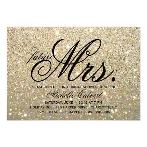 "Invite - Gold Glit Fab future Mrs. Bridal Shower 3.5"" X 5"" Invitation Card"