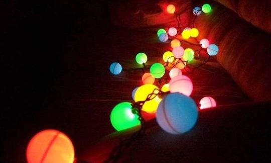 Ping pong balls on Christmas lights. Perfect for my son's room.