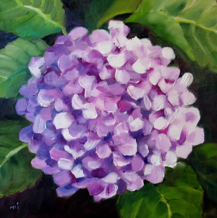 hydrangea painting on canvas | Nel's Everyday Painting: Lavender Hydrangea - SOLD