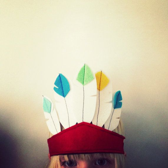 Native American Feathered Headdress  Felt Costume Hat by sparrowandbcostumery, AU$23.00