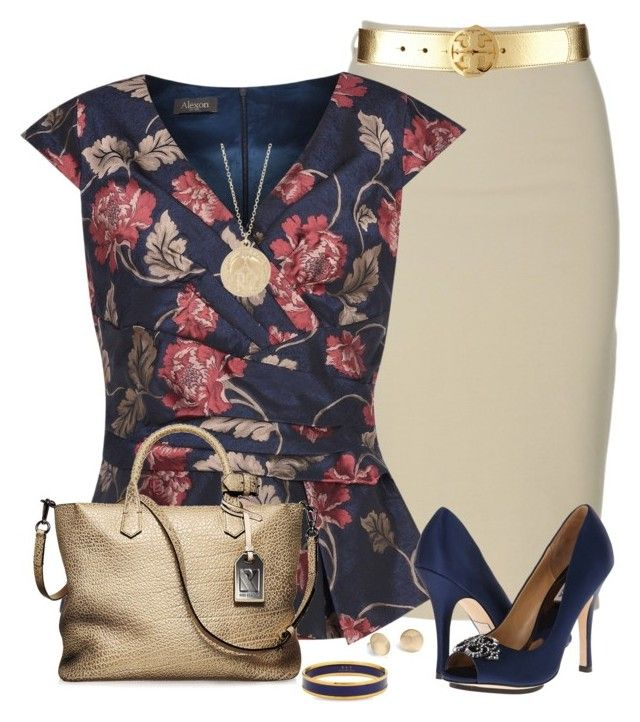 Navy Floral Top by daiscat on Polyvore featuring polyvore, fashion, style, Alexon, Badgley Mischka, Reed Krakoff, Halcyon Days, Minor Obsessions, Blue Nile, Tory Burch and clothing