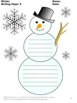 FREEBIE!!! Winter Writing Paper: Here are 10 FREE winter writing pages. Each page features different winter clipart. I hope you and your students enjoy this winter freebie!
