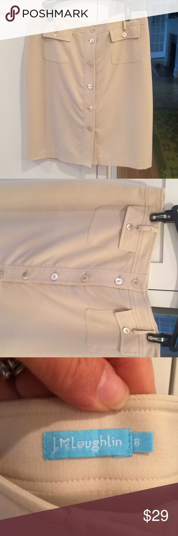 J. MCLAUGHLIN khaki skirt EUC fully lined, excellent tailoring. Perfect year-round weight — pair with a black sweater and boots in cold weather, or a cream silk blouse in warmer weather! J. McLaughlin Skirts Pencil