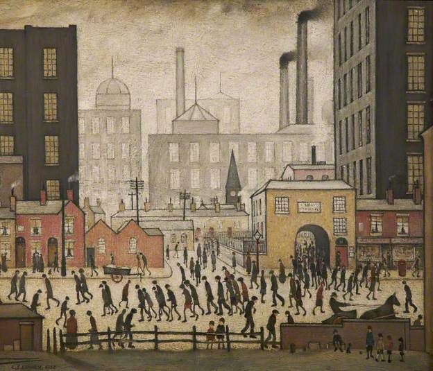 Coming from the Mill by L.S.Lowry