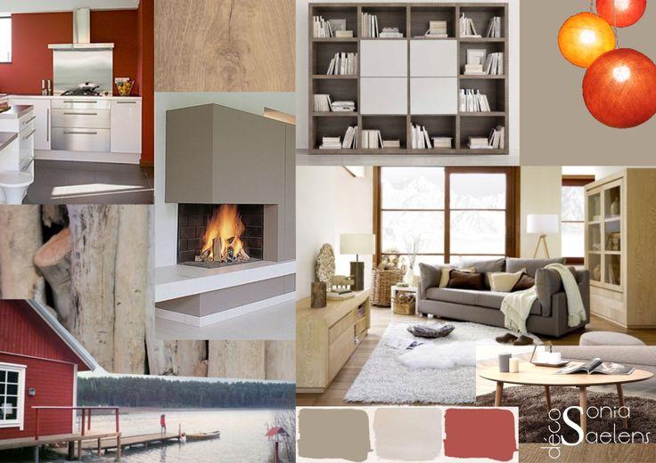 Planche tendance pour un espace salon-séjour dans un style cosy d'inspiration scandinave