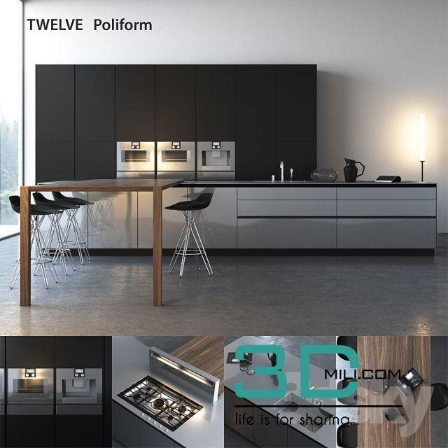 Kitchen Poliform Varenna Twelve - 3D Mili - Download 3D ...
