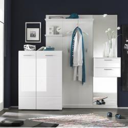 Garderobe Weiß Hochglanz/ Weiß