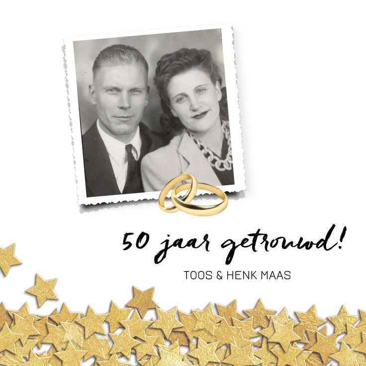 50 jaar getrouwd jubileum uitnodiging met foto, ringen en gouden sterren