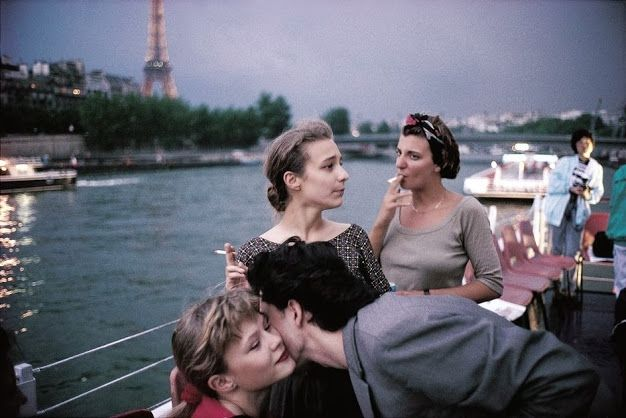 """"""" French teenagers on a boat in Paris, 1988. """""""