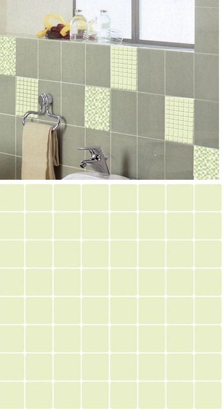 Mosaic Light Green Adhesive Wall Tiles   Wall Sticker Outlet