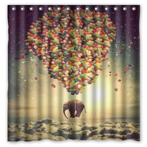 Free Shipping!Elephant And Balloon Printed Waterproof Polyester Shower Curtain&Bath Curtain(Size 180X180CM)