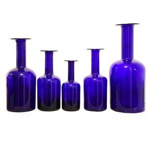 Lot de 5 bouteilles bleues Holmegaard - 1960