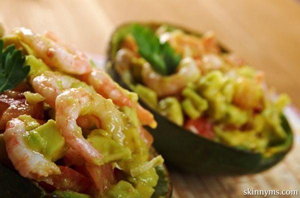 Luscious Grilled Shrimp Salad in an Avocado Shell with a Spiced Yogurt Dollop #avocado #shrimpsalad #yogurt