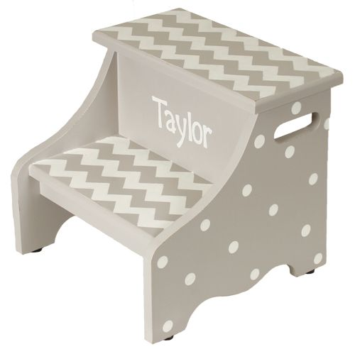 Hand painted gray chevron step stool perfect for any boy or girl bedroom or bathroom.  Do you want to make your step stool a little more special? You can personalize the step stool with the name of your little one.