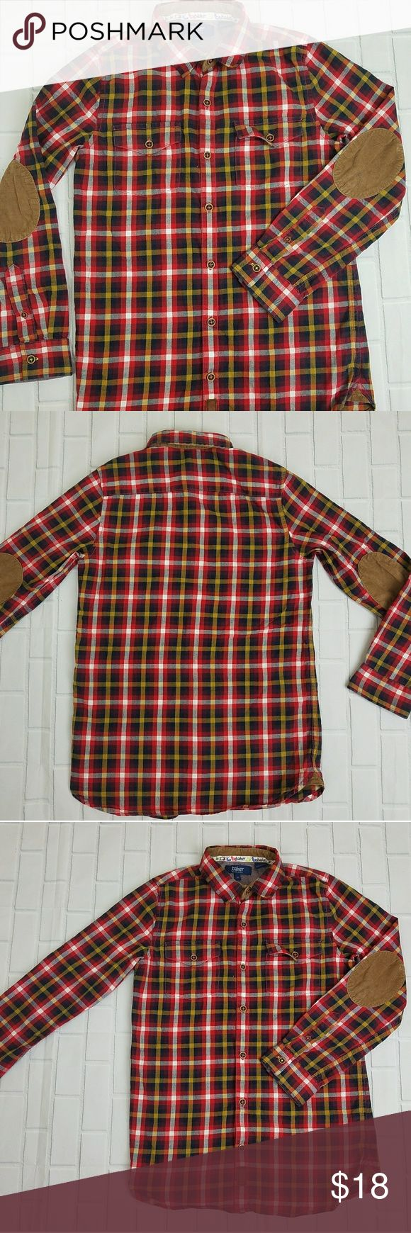 Baker by ted baker kids boy plaid sz 12🍁🌿🍂 Baker by Ted Baker kids boys long sleeves button down shirt with elbow patches size 12 Baker by Ted Baker Shirts & Tops Button Down Shirts