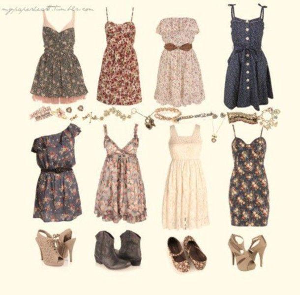 Dress Cute Clothes Sweet Flowers Summer Vintage Short Bohemian T Shirt Shoes