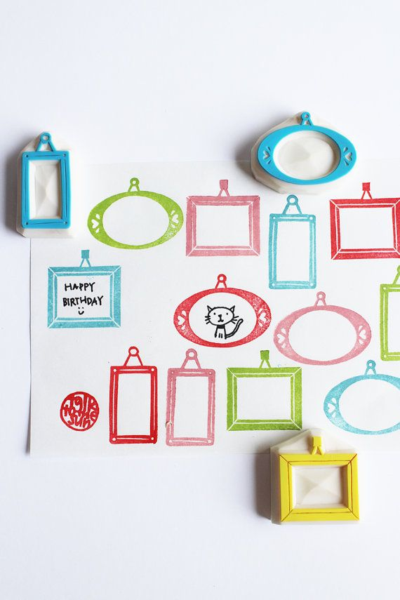 vintage picture frame rubber stamp set. hand carved stamps. oval/rectangle/square. craft projects. diy card making. set of 3. READY TO SHIP