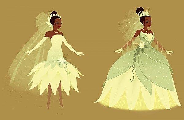 Original princess and the frog concept art featuring tiana for Princess tiana wedding dress
