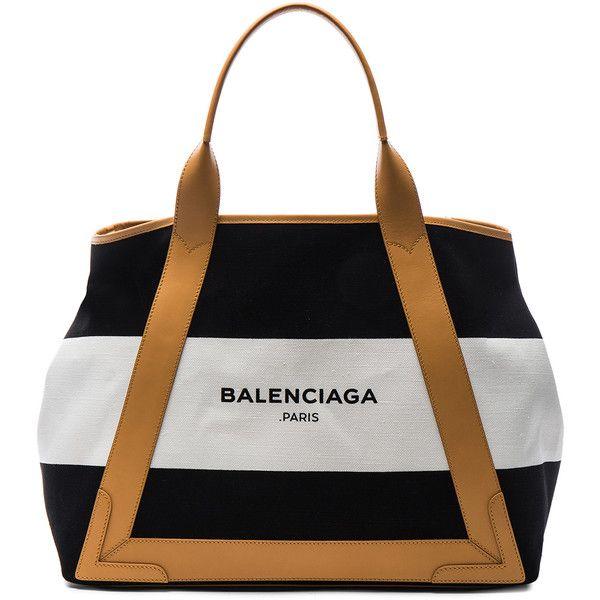 Balenciaga Medium Navy Canvas ($1,095) ❤ liked on Polyvore featuring bags, handbags, handbags purses, navy purse, white hand bags, navy handbag and white canvas handbag
