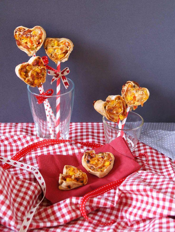 Pizza-Schnecken in Herzform zum Valentinstag