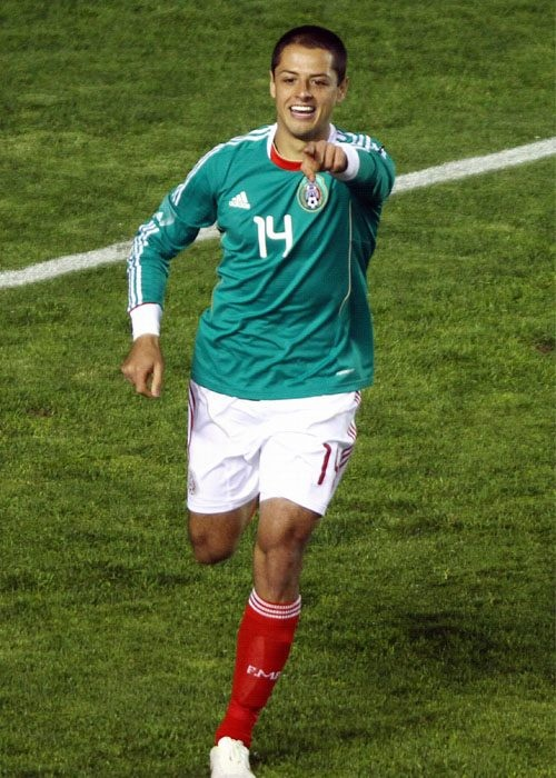"""Javier """"Chicharito"""" Hernández. Forward for the Mexico National Soccer Team, forward for Manchester United"""