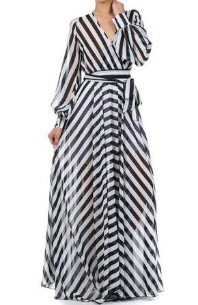 Stripe Chiffon MAXI DRESS