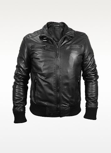 Forzieri Mens Black Leather Motorcycle Jacket For Koty