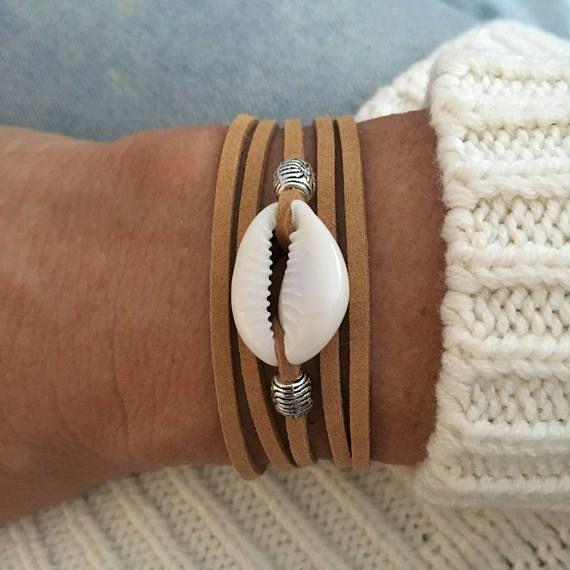 wrap bracelet, boho jewelry, cowrie shell bracelet, beachy mermaid, sea gypsy, bohemian jewelry