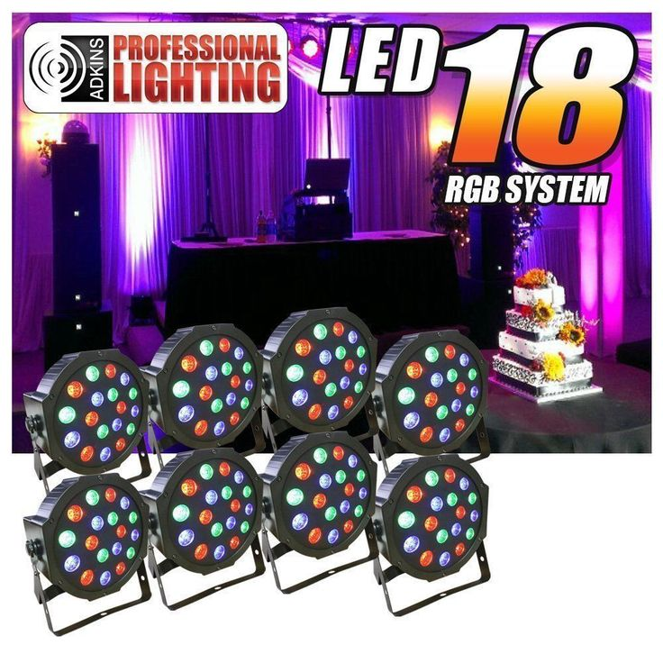 8PCS 36W 18 LED RGB PAR CAN DJ Stage DMX Lighting Disco Party Wedding Uplighting #Unbranded