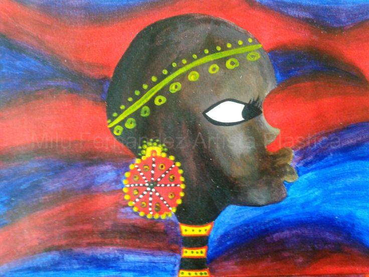 Africana ojos hermosos (acrílico)