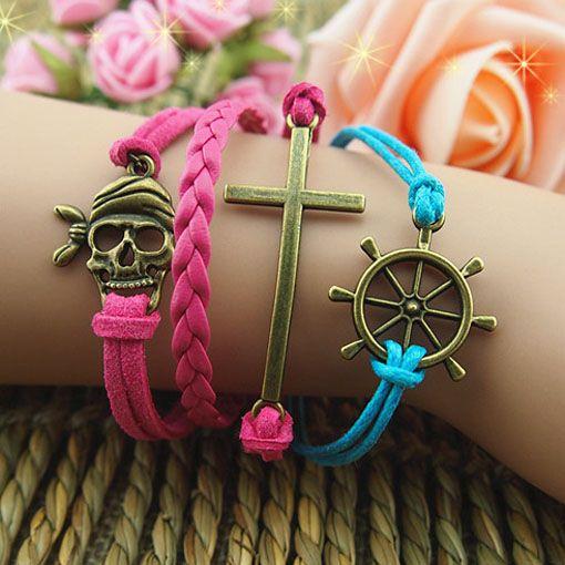 $17.79 Dresswe.com SUPPLIES Hand-weaved Retro Pirate Skull Cross Helm Multi-layers Leather Bracelet