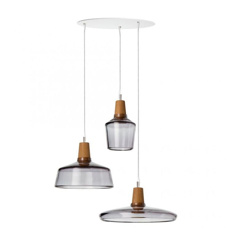 Zastaw 3 lamp INDUSTRIAL z antracytowego szkła