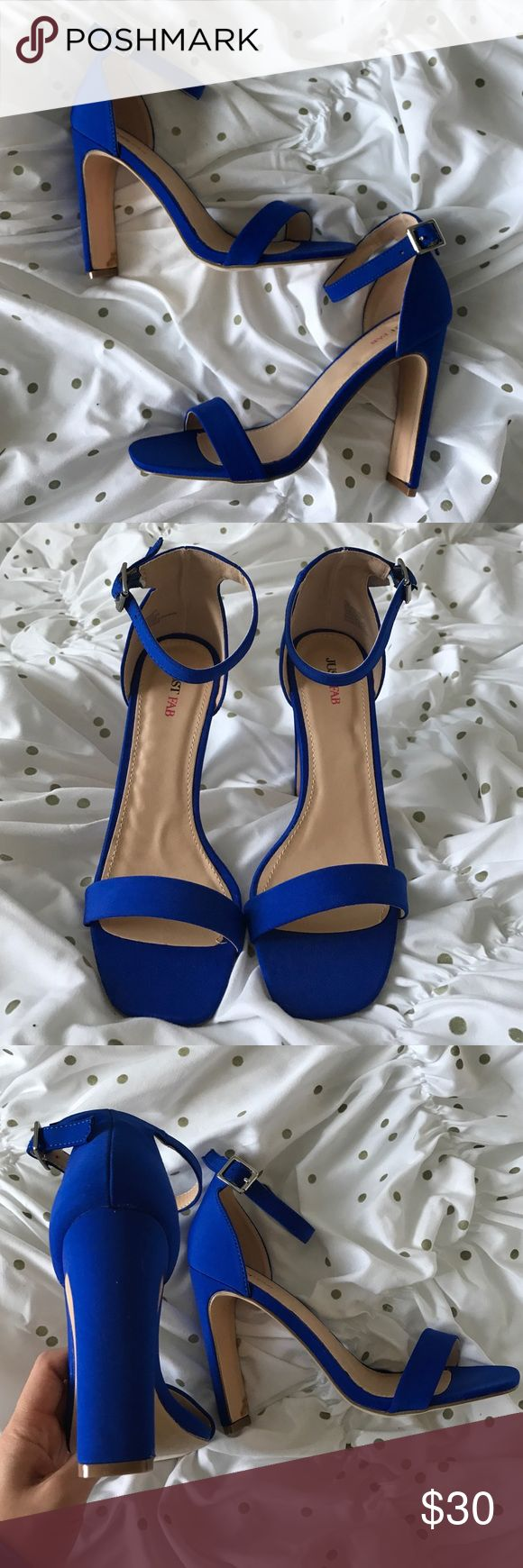 Brand new justfab royal blue ankle strap heels 6.5 Beautiful blue heels, they look skinny from the side but are thick and provide more stability, never got the chance to wear them, so cute JustFab Shoes Heels