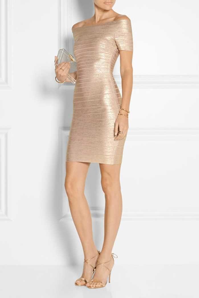73ec08e0ce6 Herve Leger Metallic Gold Off Shoulder Bandage Dresses | Gift Ideas ...