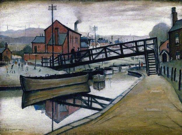 Barges on a Canal, Manchester, United Kingdom, 1941, by LS Lowry.
