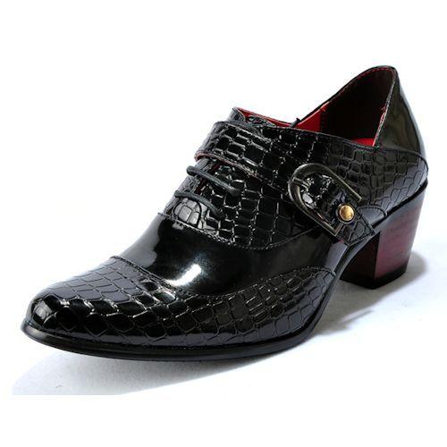 Men Black Crocodile Leather High Heel Wedding Prom Dress Shoe Sale SKU-1100306