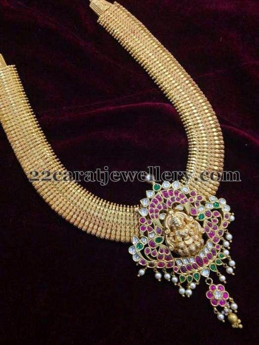 Jewellery Designs: Gold Long Chain Detachable Pendant